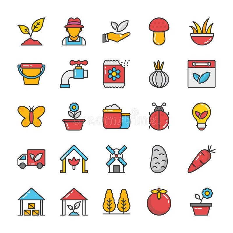 Linha ícones da natureza do vetor ajustados ilustração royalty free