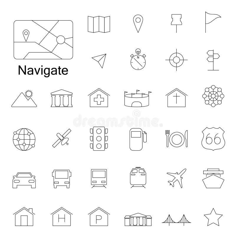 Linha ícones da navegação ilustração royalty free