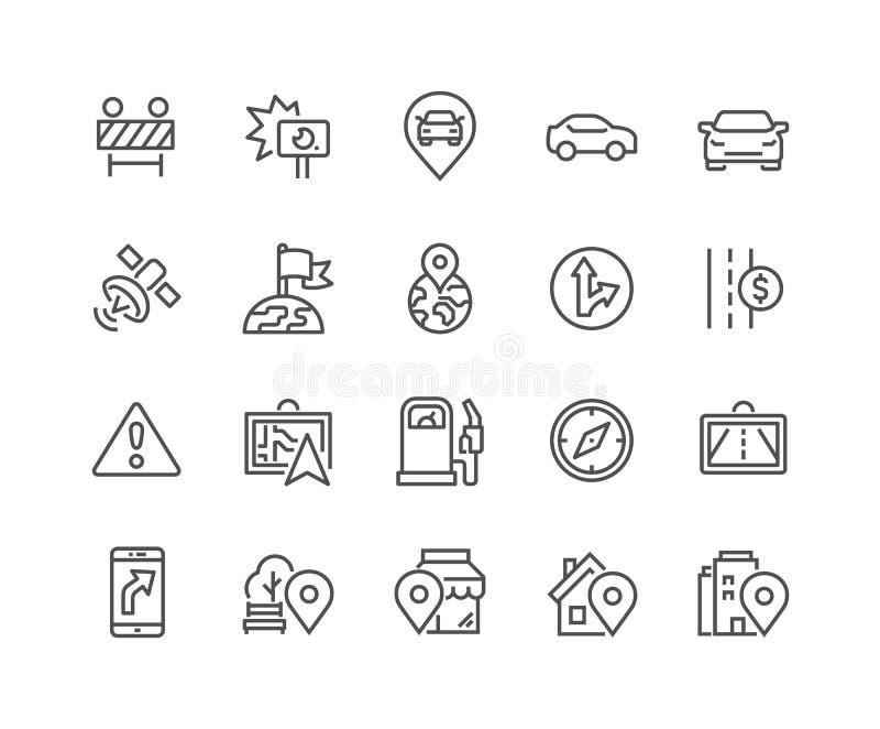 Linha ícones da navegação ilustração stock