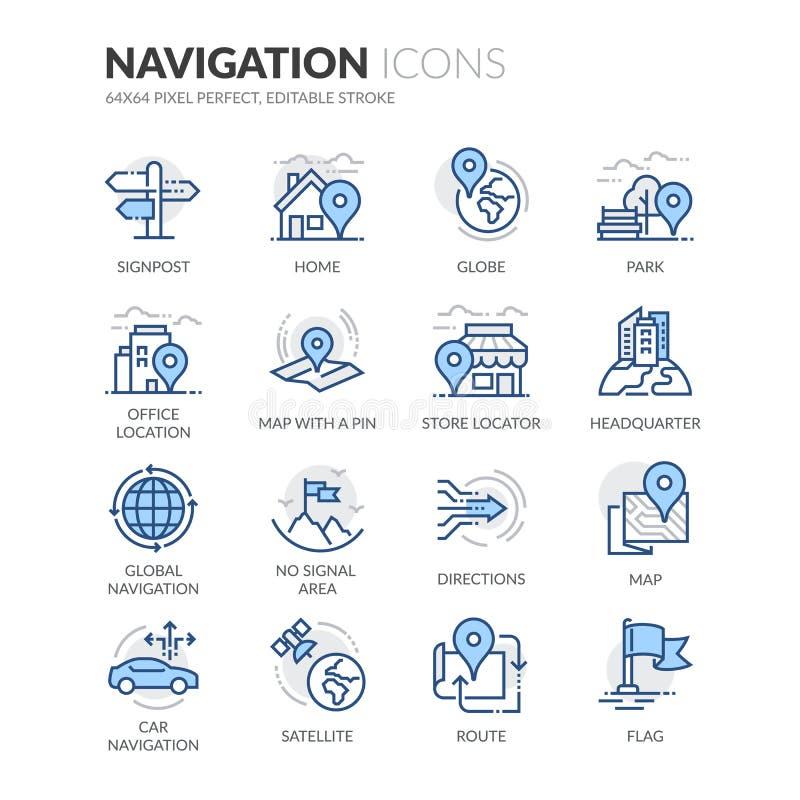 Linha ícones da navegação ilustração do vetor