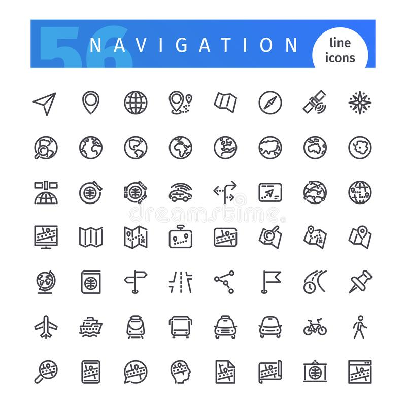 Linha ícones da navegação ajustados ilustração do vetor