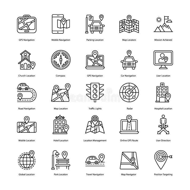 Linha ícones da navegação do mapa ilustração stock