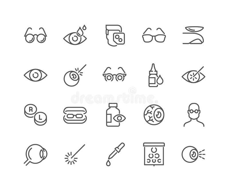 Linha ícones da optometria ilustração royalty free