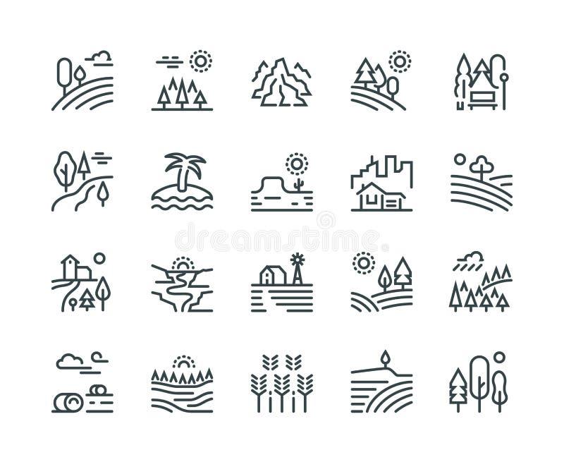 Linha ícones da paisagem Árvores de floresta do monte da montanha do parque natural e jardim do campo, arquitetura da cidade indu ilustração royalty free