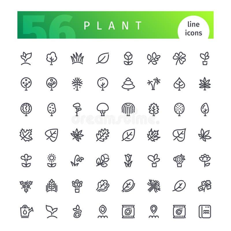 Linha ícones da planta ajustados ilustração stock