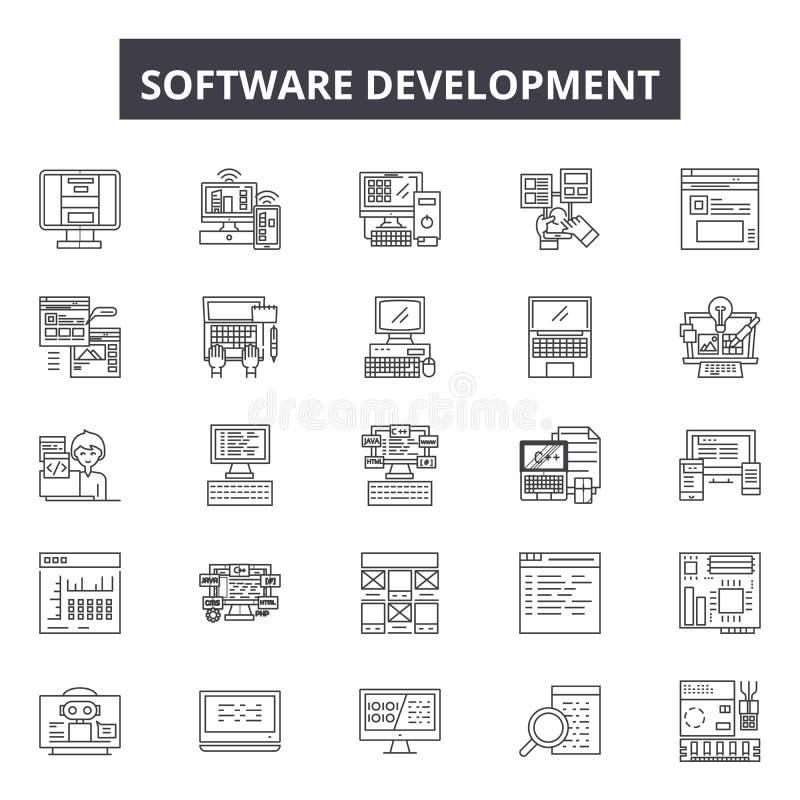 Linha ícones da programação de software, sinais, grupo do vetor, conceito linear, ilustração do esboço ilustração do vetor