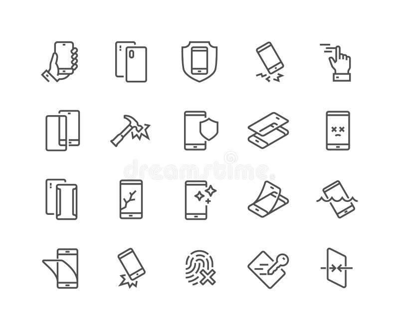 Linha ícones da proteção de Smartphone ilustração do vetor