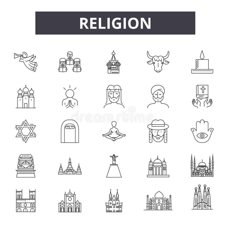 Linha ícones da religião, sinais, grupo do vetor, conceito linear, ilustração do esboço ilustração royalty free