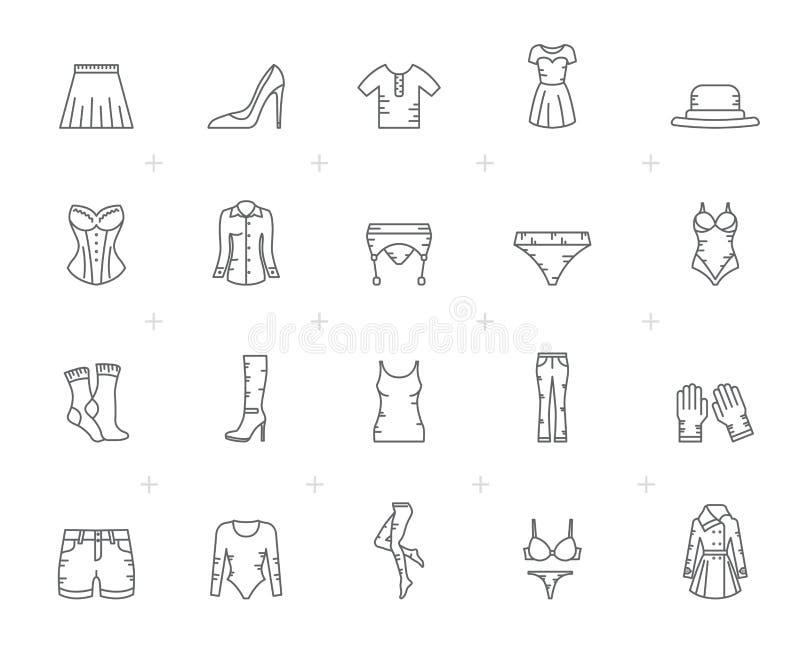 Linha ícones da roupa da mulher ilustração royalty free