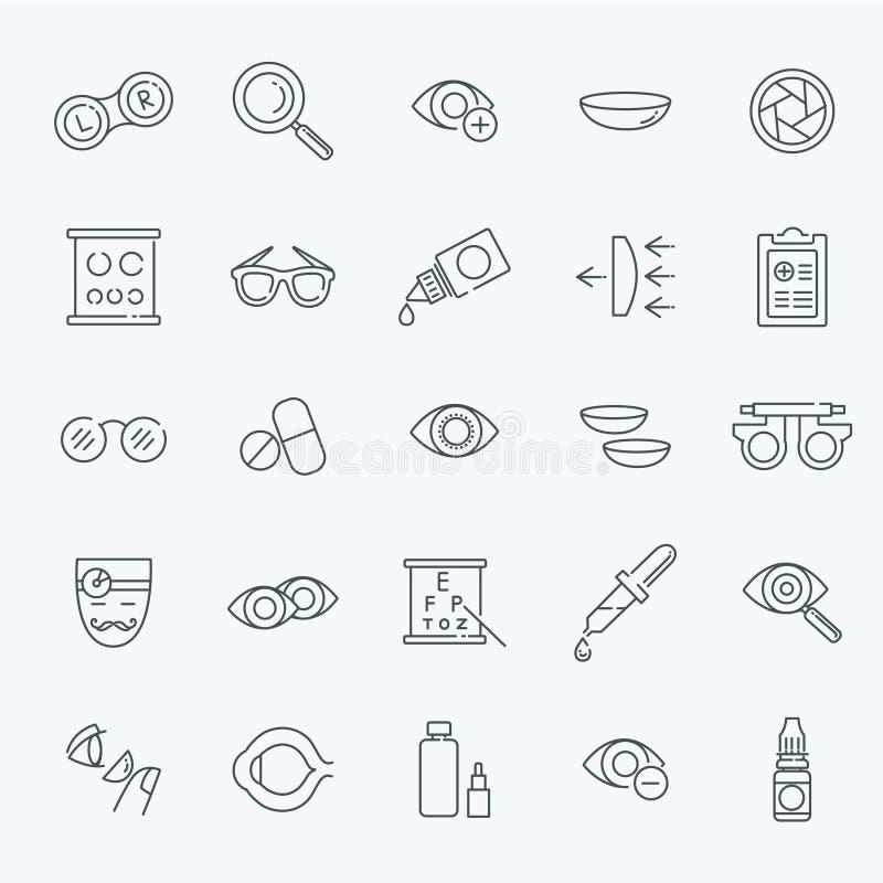 Linha ícones da saúde dos olhos da correção da visão da optometria do oculista ajustados ilustração royalty free