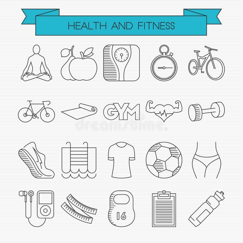 Linha ícones da saúde e da aptidão ajustados ilustração royalty free