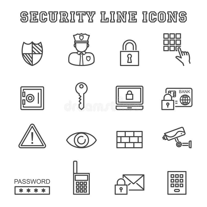Linha ícones da segurança ilustração stock