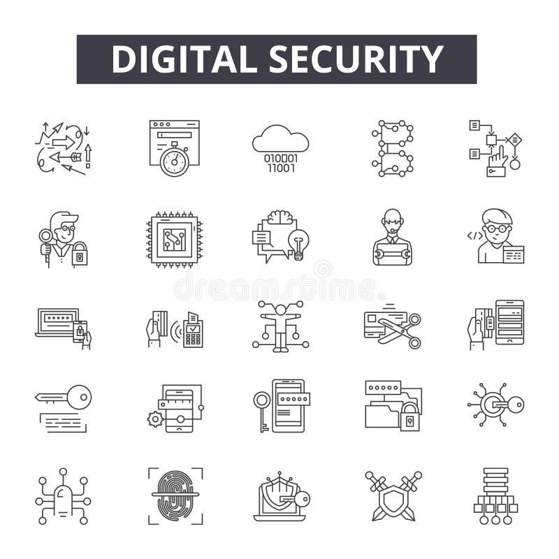 Linha ícones da segurança de Digitas para a Web e o projeto móvel Sinais editáveis do curso Conceito do esboço da segurança de Di ilustração do vetor