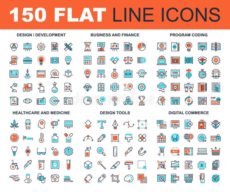 Linha ícones da Web ilustração stock