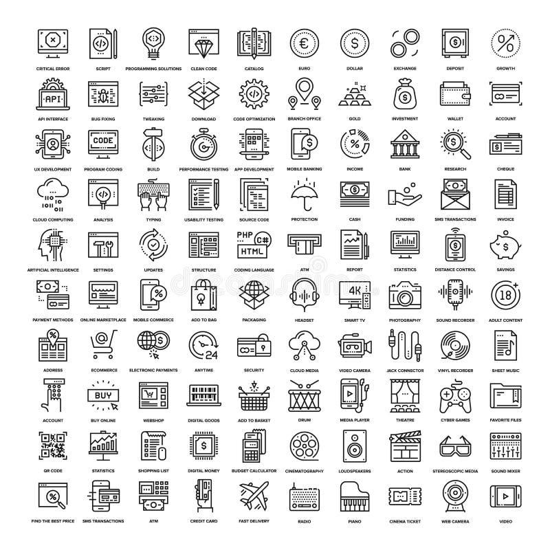 Linha ícones da Web ilustração royalty free