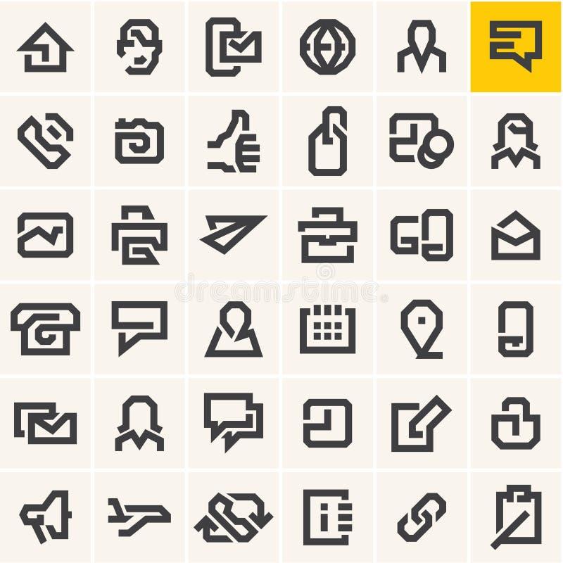 Linha ícones da Web ajustados ilustração do vetor