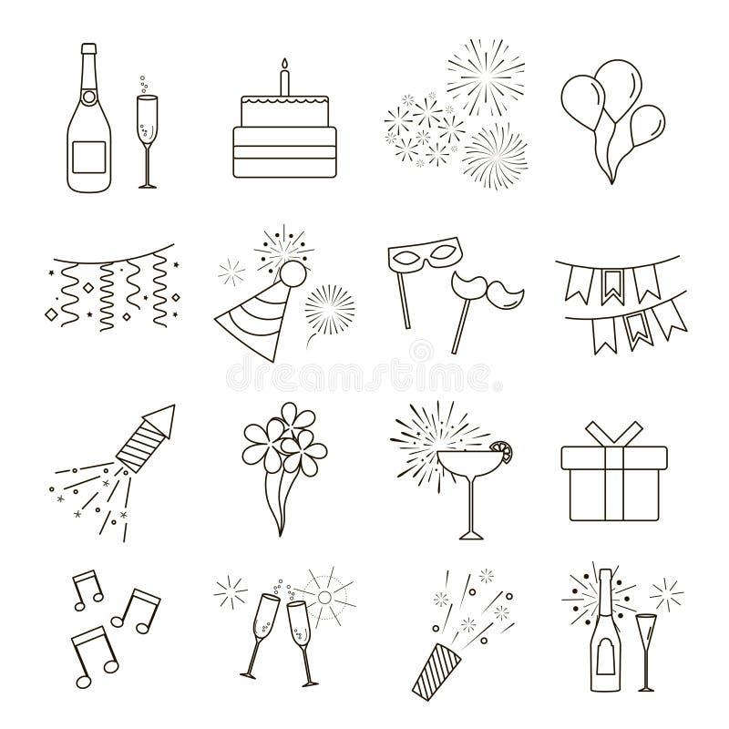 Linha ícones da Web do partido, da celebração, do aniversário e dos feriados ilustração do vetor