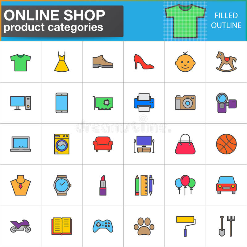 A linha ícones das categorias de produto da loja ajustou-se, coleção enchida do símbolo do vetor do esboço, bloco linear do picto ilustração stock
