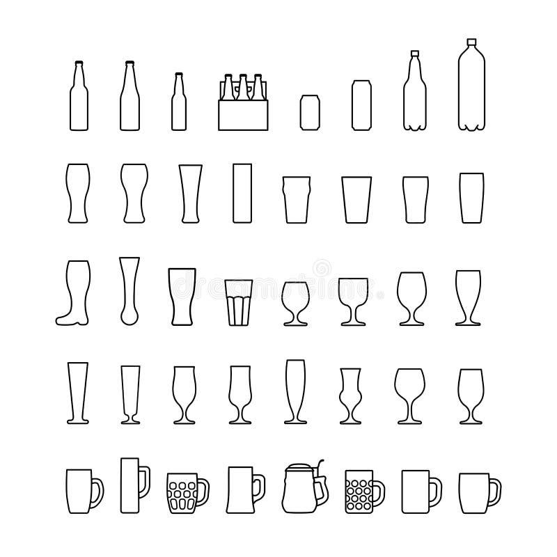 Linha ícones das garrafas e dos vidros de cerveja ajustados Vetor ilustração stock