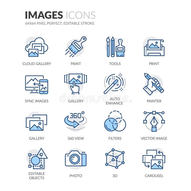 Linha ícones das imagens ilustração royalty free