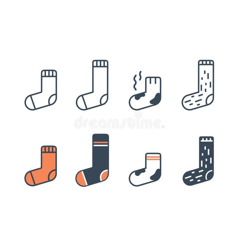 Linha ícones das peúgas ajustados Tipo diferente de comprimento, de cor e de material ilustração royalty free