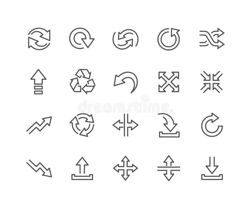 Linha ícones das setas da relação ilustração do vetor