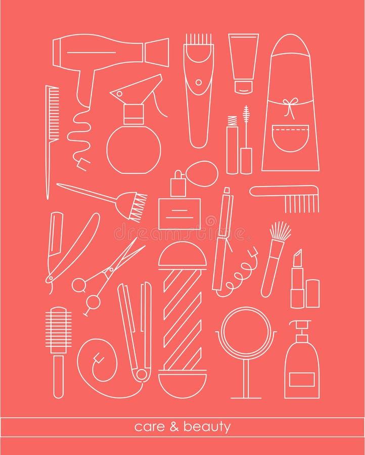 A linha ícones de Beauty&Care ajustou-se para a barbearia ou o salão de beleza ilustração royalty free