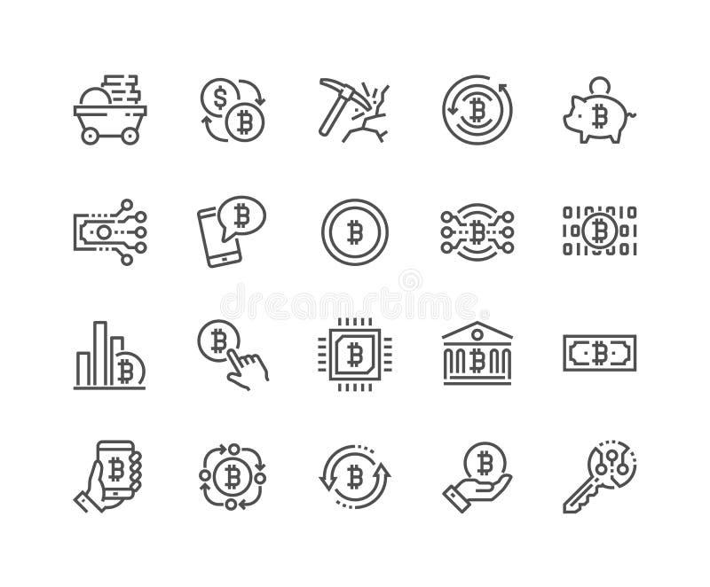 Linha ícones de Bitcoin ilustração royalty free