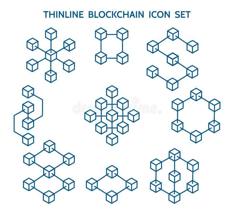 Linha ícones de Blockchain ilustração stock