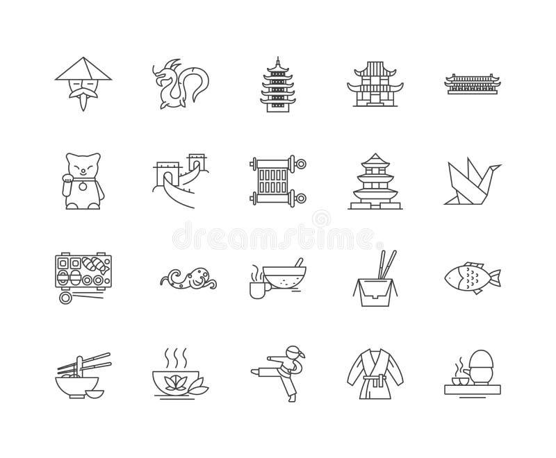 Linha ícones de China, sinais, grupo do vetor, conceito da ilustração do esboço ilustração royalty free