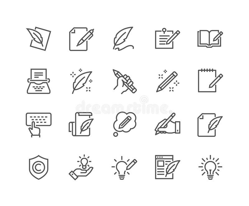 Linha ícones de Copywriting ilustração royalty free