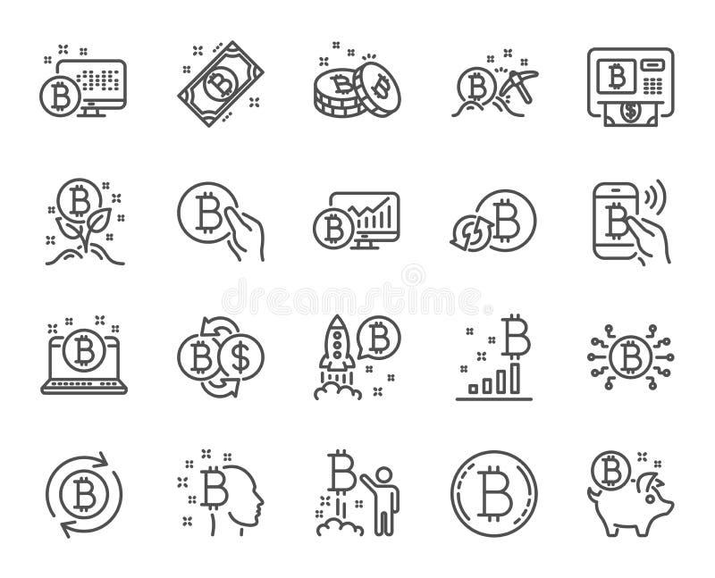 Linha ícones de Cryptocurrency O grupo de Blockchain, ICO cripto começa acima e Bitcoin Vetor ilustração stock