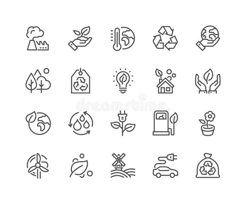 Linha ícones de Eco ilustração stock