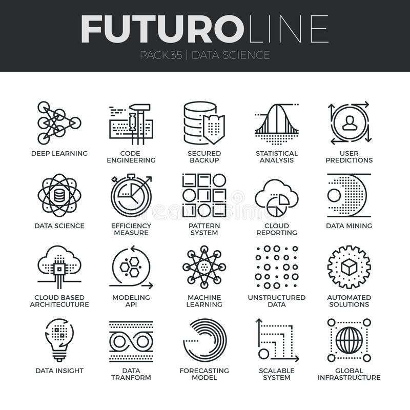 Linha ícones de Futuro da ciência dos dados ajustados ilustração do vetor