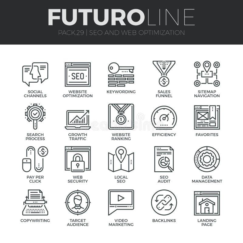 Linha ícones de Futuro da otimização do Search Engine ajustados