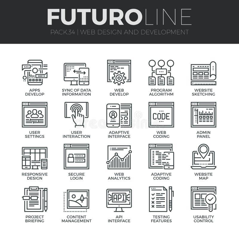 Linha ícones de Futuro do desenvolvimento da Web ajustados ilustração royalty free