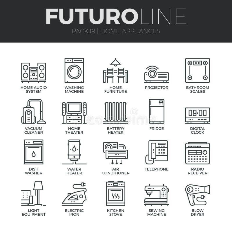 Linha ícones de Futuro dos aparelhos eletrodomésticos ajustados ilustração royalty free