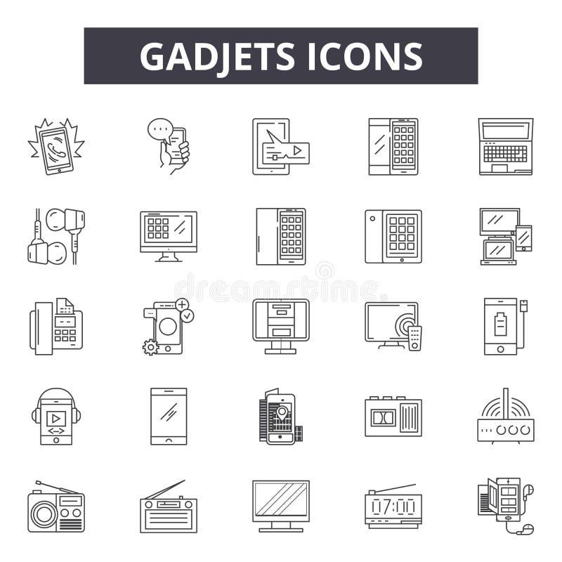 Linha ícones de Gadjets para a Web e o projeto móvel Sinais editáveis do curso Ilustrações do conceito do esboço de Gadjets ilustração stock