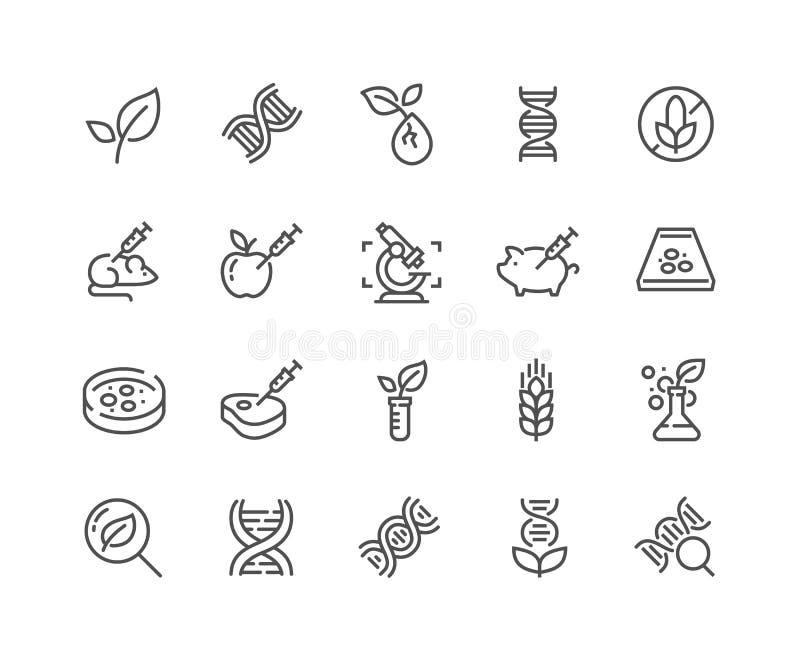 Linha ícones de GMO ilustração royalty free