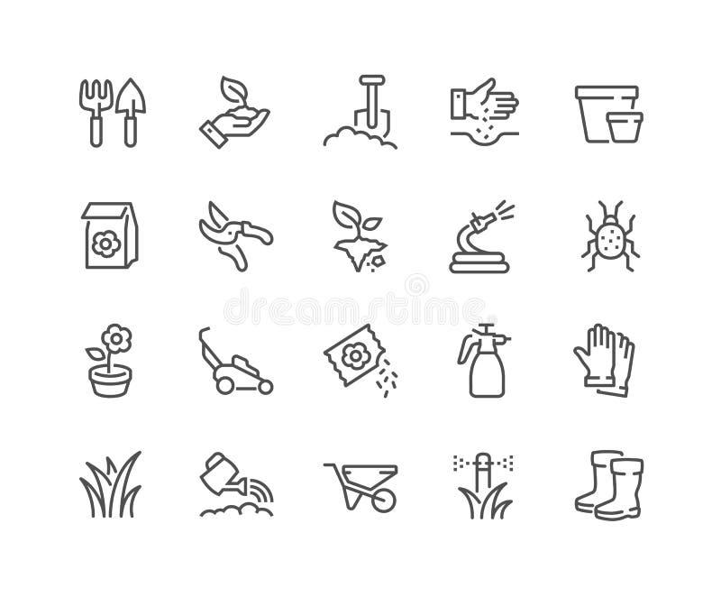 Linha ícones de jardinagem ilustração royalty free
