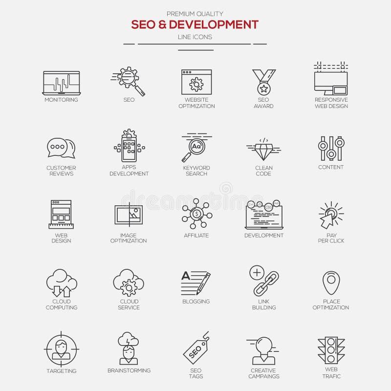 Linha ícones de Seo e de desenvolvimento ilustração do vetor