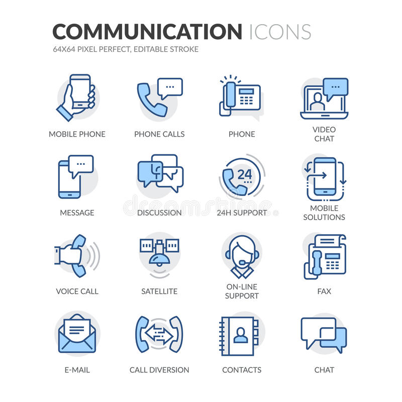 Linha ícones de uma comunicação