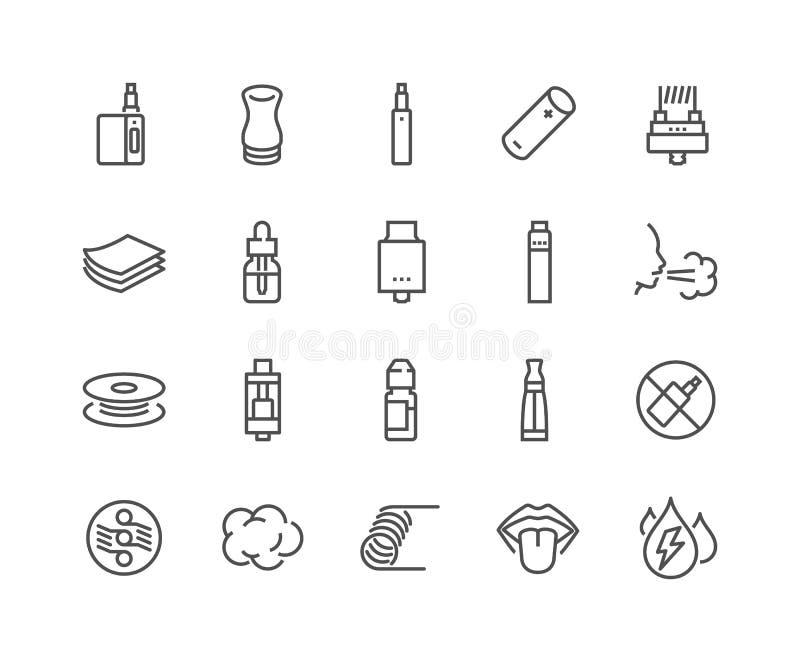 Linha ícones de Vape ilustração do vetor
