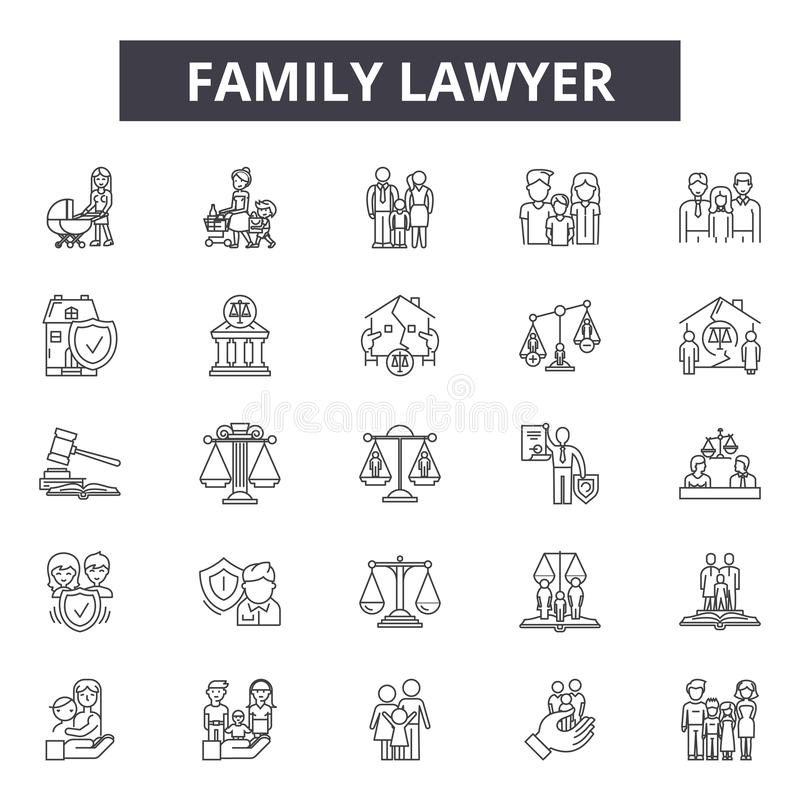 Linha ícones do advogado da família, sinais, grupo do vetor, conceito da ilustração do esboço ilustração stock