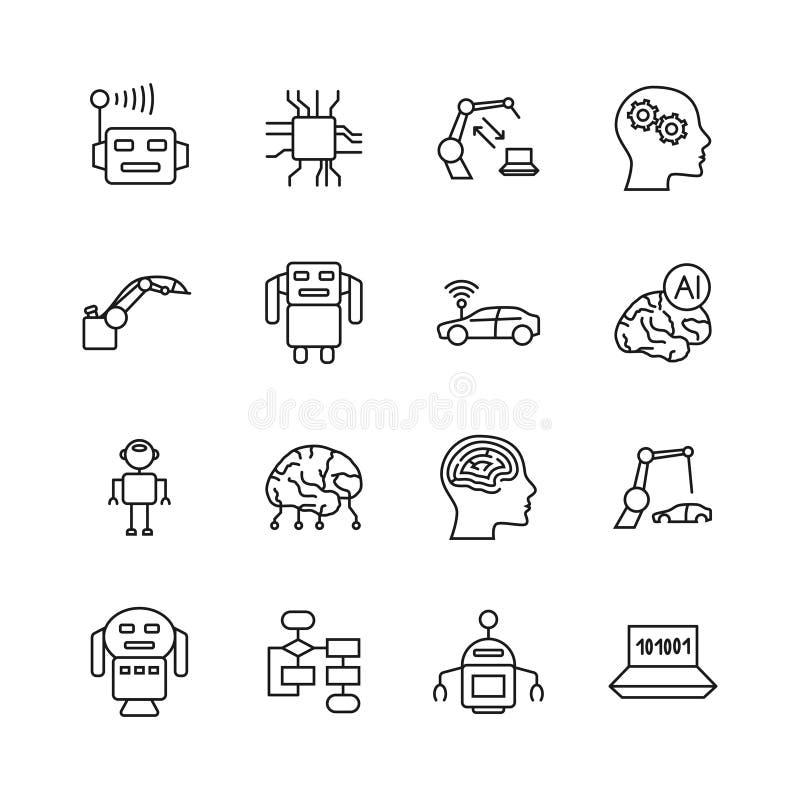 Linha ícones do AI da inteligência artificial Sinais da mente da microplaqueta do intelecto e do cyborg do robô