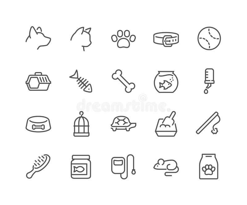 Linha ícones do animal de estimação ilustração royalty free