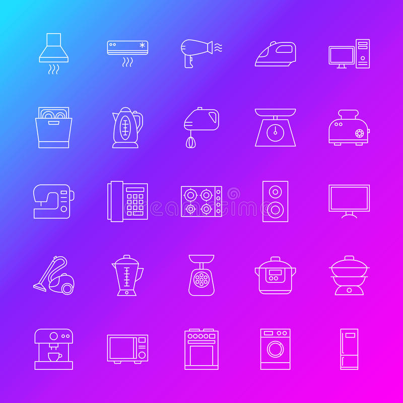Linha ícones do aparelho eletrodoméstico ilustração royalty free