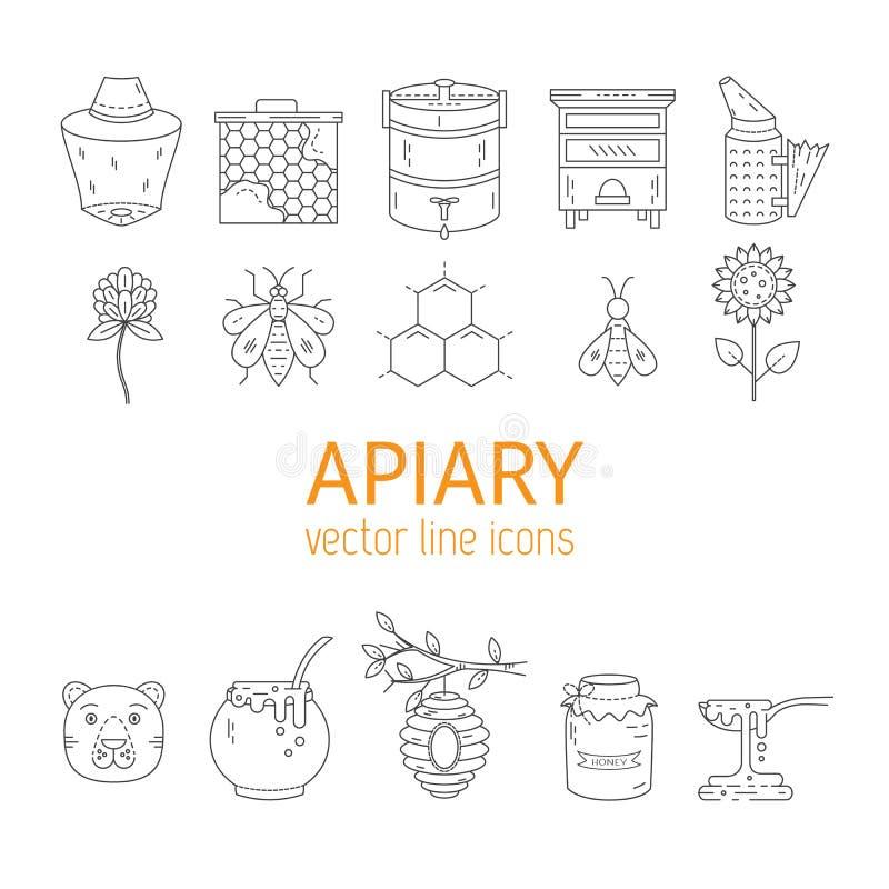 Linha ícones do apiário ajustados ilustração stock