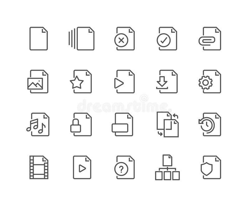 Linha ícones do arquivo ilustração stock