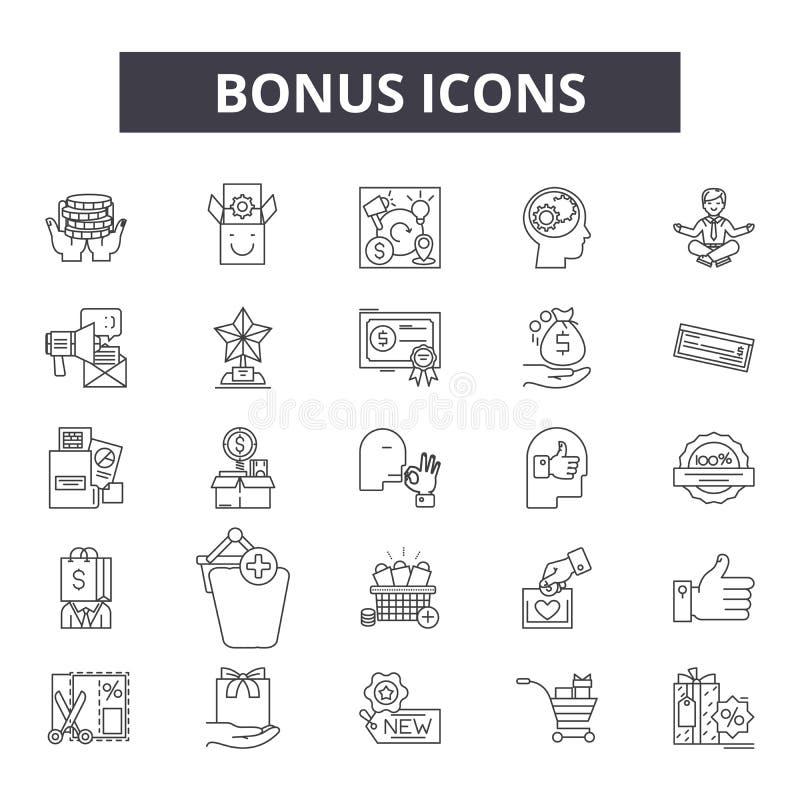 Linha ícones do bônus, sinais, grupo do vetor, conceito da ilustração do esboço ilustração stock